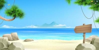 amplo fundo de banner de praia tropical vetor