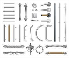 conjunto de maçanetas modernas e clássicas vetor