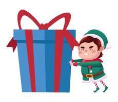 Ajudante de Papai Noel fofo personagem de natal com presente azul vetor