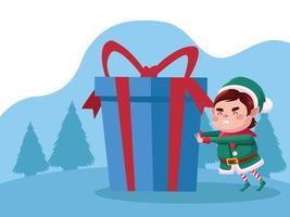 Personagem de Natal fofo ajudante de Papai Noel com presente azul na neve vetor