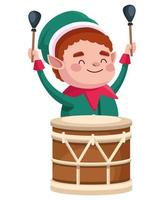 ajudante de Papai Noel fofo personagem de natal tocando tambor vetor