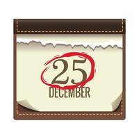 calendário com data 25 de dezembro ícone de natal vetor