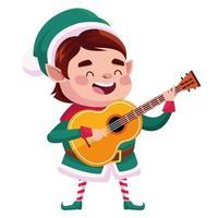 ajudante de Papai Noel fofo personagem de natal tocando guitarra vetor