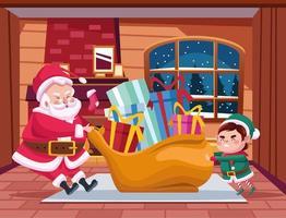 Papai Noel fofo e ajudante com a cena dos personagens na sacola vetor