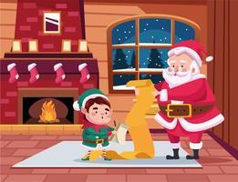 Papai Noel fofo e ajudante lendo a cena da lista de presentes vetor