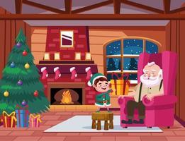 Papai Noel fofo e ajudante com presente na cena da casa vetor