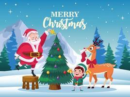 Papai Noel fofo com duende e veado decorando a cena da árvore vetor