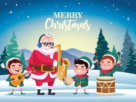 Papai Noel fofo e ajudantes tocando cena de instrumentos vetor