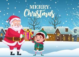 Papai Noel fofo e ajudante com presente em cena de neve vetor