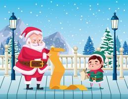 Papai Noel fofo e ajudante lendo a lista de presentes na neve vetor