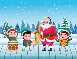 Papai Noel fofo e ajudantes tocando instrumentos cena neve vetor