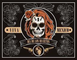 celebração do dia de los muertos com o crânio e o coração da mulher em fundo marrom vetor