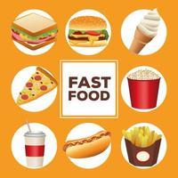 pacote de oito deliciosos menus e letras de fast food vetor