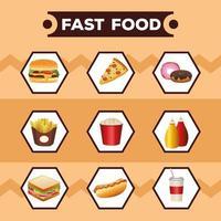 pacote de nove deliciosos cardápios e letras de fast food vetor