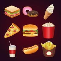 pacote de nove menu de fast food delicioso vetor