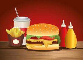 ícones deliciosos de hambúrguer e fast food vetor