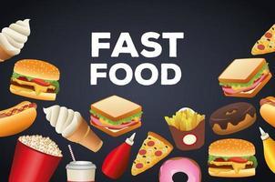 pacote de delicioso menu de fast food e letras em fundo preto vetor