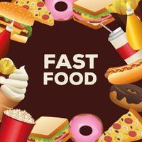 pacote de deliciosa moldura de menu de fast food ao redor vetor