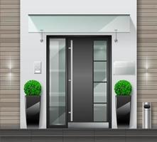 porta da frente para a varanda e janelas da casa vetor