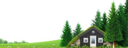 paisagem colinas verdes montanhas floresta com casa alpina vetor