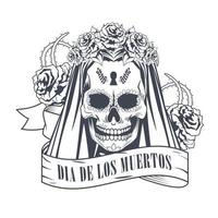 celebração do dia de los muertos com o crânio da mulher no desenho da moldura da fita vetor