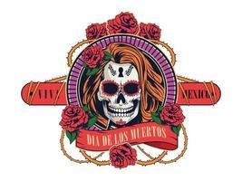 celebração do dia de los muertos com caveira de mulher e flores rosas vetor