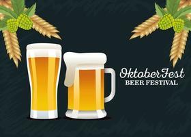 feliz celebração da oktoberfest com cervejas e grinaldas de cevada vetor