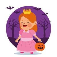 menina bonitinha vestida de princesa e morcegos vetor