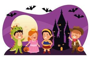 crianças fofas vestidas como personagens diferentes com morcegos na cena noturna do castelo vetor
