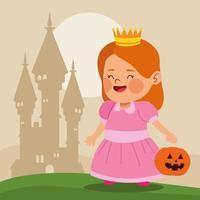 menina bonitinha vestida como uma princesa personagem e castelo vetor