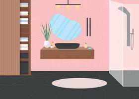 ilustração vetorial de cor plana de banheiro de luxo rosa vetor