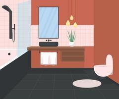 ilustração vetorial de cor plana de banheiro luxuoso vetor