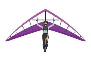 ilustração vetorial plana de asa delta vetor