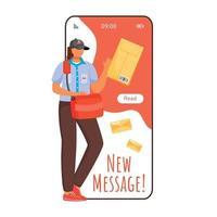 nova tela do aplicativo de vetor de smartphone de mensagem