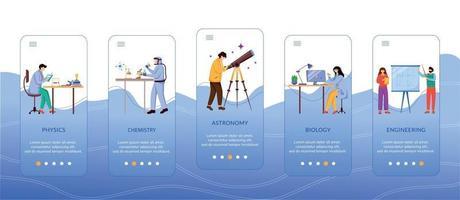 personagens de filiais de ciência integrando modelo de vetor de tela de aplicativo móvel