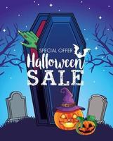 pôster sazonal de venda de halloween com a mão saindo do caixão no cemitério vetor