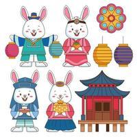 celebração chuseok feliz com conjunto de ícones vetor