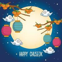 celebração chuseok feliz com lanternas penduradas em uma árvore de laranjeira vetor