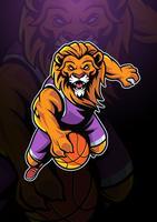 Logotipo de mascote de basquete de leão vetor
