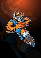 Logotipo de mascote de basquete de tigre vetor