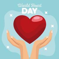 letras do dia mundial do coração com as mãos protegendo o coração em fundo azul vetor