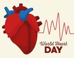 letras do dia mundial do coração com órgão com linha de pulso de cardiologia vetor