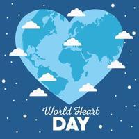 letras do dia mundial do coração com terra em forma de coração vetor