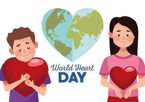 letras do dia mundial do coração com casal abraçando corações e uma terra em forma de coração vetor