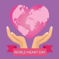 letras do dia mundial do coração com as mãos protegendo o coração rosa e a moldura da fita vetor