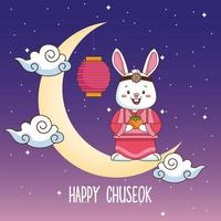 feliz celebração chuseok com coelho levantando fruta laranja na lua crescente vetor