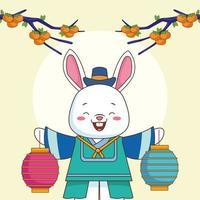 feliz celebração chuseok com coelho levantando lâmpadas e laranjas na árvore vetor