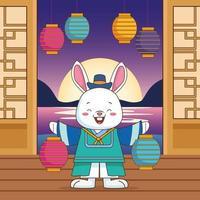 celebração chuseok feliz com lâmpadas levantando coelho vetor