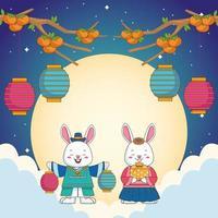 feliz celebração chuseok com casal de coelhos e lanternas penduradas nas nuvens vetor