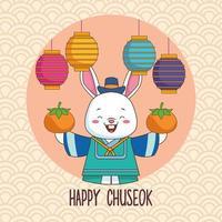 celebração chuseok feliz com coelho levantando laranjas e lanternas vetor